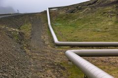 Industrial Pipes at a Geothermal Power Station in Iceland Royalty Free Stock Photos
