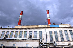 Industrial pipes heat electric station Stock Photography
