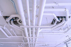 Industrial pipes for plumbing system on building Stock Images