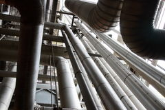 Industrial Pipes Reaching Upwards - Horizontal Stock Photography