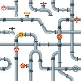 Industrial pipes seamless pattern. Pipe valves and taps, drain cooling or heating system pipelines gas pressure gauge royalty free illustration