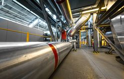 Industrial pipes in a thermal power plant Stock Photos