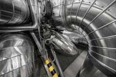 Industrial pipes in a thermal power plant Royalty Free Stock Images
