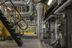 Industrial pipes in a thermal power plant Royalty Free Stock Photo