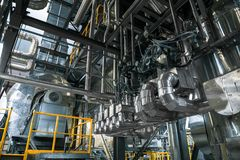 Industrial pipes in a thermal power plant Stock Image