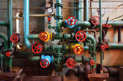 Industrial pipes with valves Royalty Free Stock Image
