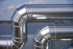 Industrial Piping. Industrieanlagen house on the roof Stock Photo