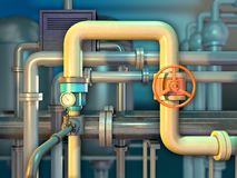 Industrial piping with shut off valve. And a monitoring gauge. 3D illustration stock illustration