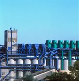 Industrial plant. With color-coded process piping and tanks Stock Photo