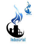 Industrial plant with blue gas flame Royalty Free Stock Photo