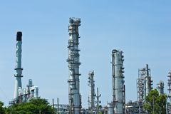 Industrial plant with blue sky Stock Photos