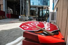 Industrial plant or construction site regulation concept photo with red stop signs stock photos