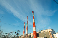 Industrial plant with exhaust pipes Stock Photo