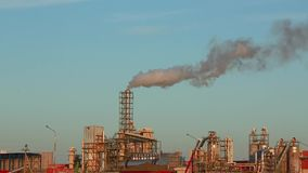 Industrial plant with exhaust pipes stock video
