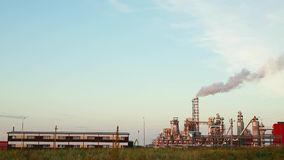 Industrial plant with exhausts stock footage