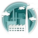 Industrial plant factory concept vector illustration in paper art style Royalty Free Stock Photos