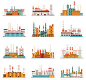 Industrial plant and factory set of icons Stock Photos