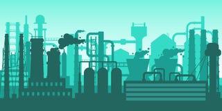 Industrial plant, factory silhouette, exterior enterprise scene, gas, helium plants. Industrial plant manufacturing, factory silhouette exterior, industrial stock illustration