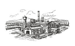 Industrial plant, factory sketch. Vintage building vector illustration Royalty Free Stock Photography