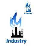Industrial plant icon with blue flame Stock Image