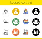 Industrial plant icons set Royalty Free Stock Photos
