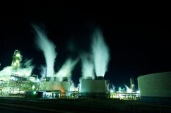 Industrial plant at night Royalty Free Stock Images