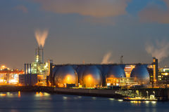 Industrial plant at night stock photography