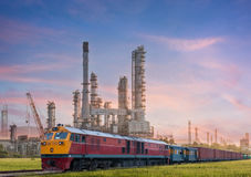 Industrial plant power station and train. On the sun light Stock Photos