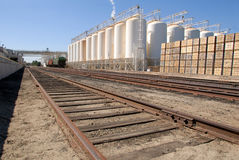 Industrial Plant and Railroad Tracks stock photography