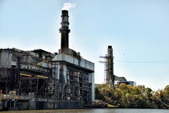 Industrial Plant on the River Royalty Free Stock Photos