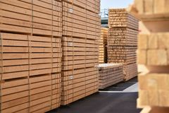 Industrial plant sawmill - storage of wooden boards. Closeup photo stock photo
