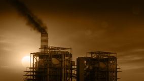 Industrial Plant with Smoke Stacks Billowing Royalty Free Stock Photos