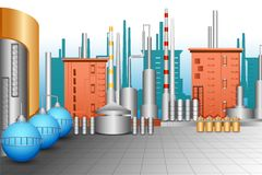 Industrial Plant. Vector illustration of industrial plant with oil tanker Stock Photography