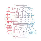 Industrial plant with a worker - line design illustration Stock Photo