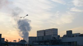 Industrial plants with chimney and smokestacks. Air pollution due to factory emissions, concept of global warming stock video
