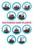Industrial plants and factories icons Stock Photos
