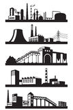 Industrial plants in perspective. Vector illustration Stock Photo