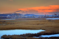Industrial plants at twilight Royalty Free Stock Images