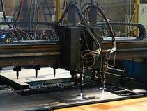 Industrial plasma cutting of metal plate. Closeup Royalty Free Stock Photo