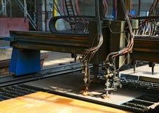 Industrial plasma cutting of metal plate. Closeup Stock Photography