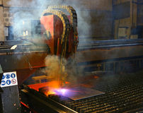 Industrial plasma cutting of metal plate Royalty Free Stock Photos