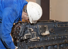 Industrial platform. Engine repair. Royalty Free Stock Photos