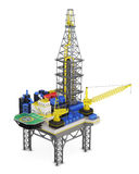 Industrial platform offshore isolated. 3d rendering Stock Image