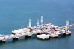 Industrial platform on the sea stock photos