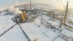 Industrial platform winter aerial stock video footage
