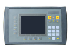 Industrial PLC with built-in operator panel. Grey industrial PLC with built-in operator panel used for process control with buttons and touchscreen isolated on Royalty Free Stock Photography