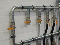 Industrial plumbing pipes Stock Photos