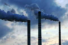 Industrial pollution. Air pollution from thermal power plant Stock Image