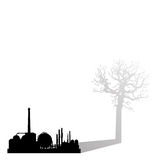 Industrial pollution killing earth. Vector illustration as silhouette of chemical industry projecting a shadow of a bare dying tree related to the concept of Stock Images