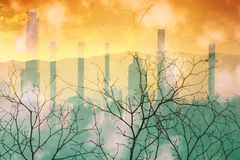 Industrial pollution nature disaster concept. Stock Photos